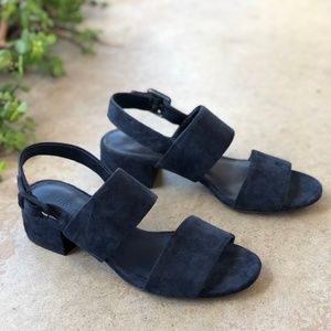 Vince Rena Navy Suede Leather Block Heel Sandals